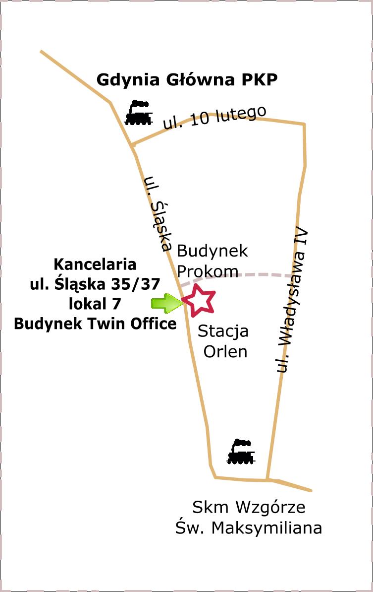 Dojazd od Kancelarii Notarialnej w Gdyni